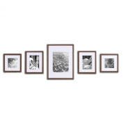 GALLERY PERFECT 5 Piece Walnut Wood Photo Frame Wall Gallery Kit #11FW1442. Includes