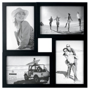 Malden International Designs Puzzle 4-Way Opening Plastic Picture Frame Collage, 10cm by 15cm , Black