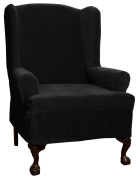 Maytex Collin Stretch 1-Piece Slipcover Wing Chair, Black