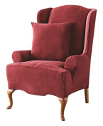 Sure Fit Stretch Pique - Wing Chair Slipcover - Garnet