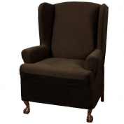 Maytex Stretch Reeves 1-Piece Wing Chair Slipcover, Chocolate