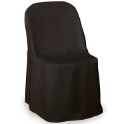 Lann's Linens Premium Polyester Folding Chair Cover - for Wedding or Banquet Use - Black - 10pcs