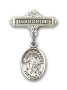 ReligiousObsession's Sterling Silver Baby Badge with Guardian Angel Charm and Godchild Badge Pin