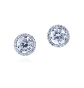 SPOIL CUPID Rhodium Plated 925 Sterling Silver AAA CZ Simulated Diamond Classic Halo Stud Earrings