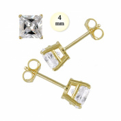 14K Yellow Gold Stud Earring Aprx 1 Carat Total Weight, 4mm Each Princess Cut Simulated Diamond Earring Set on High Quality Prong Setting & Friction Style Post - Crazy2Shop