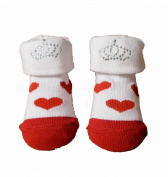 Baby Girls Cute RED HEARTS Crown/Tiara Socks in Gift Bag - Size 0-6 Months - Ideal Baby Gift!