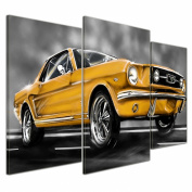 """Bilderdepot24 Wall Art - Canvas Picture """"Mustang Graphic - yellow"""" - 100cm x 60cm 3 pieces - Gallery wrapped, directly from the manufacturer"""