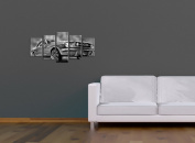 "Bilderdepot24 Wall Art - Canvas Picture ""Mustang Graphic - black and white"" - 100cm x 50cm 5 pieces - Gallery wrapped, directly from the manufacturer"