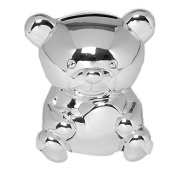 QUALITY SILVER PLATED BEAR MONEY BOX CHRISTENING GIFT NEW & BOXED