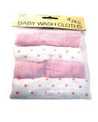 Beautiful Beginnings Pack 4 Pink Supersoft Baby Wash Cloths Towels Child Newborn Baby