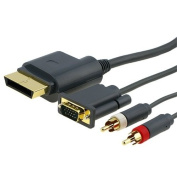 Fosmon Gold Plated 1.8m Premium VGA Cable w/ Digital Optical Audio Port for Microsoft Xbox 360 to TV equipment For PC HDTV