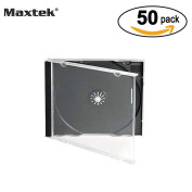 Maxtek 10.4 mm Standard Single Clear CD Jewel Case with Assembled Black Tray, 50 Pack