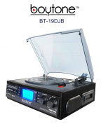Boytone BT-19DJB, 3-Speed Stereo Turntable - 33/45/78 RPM with AM , FM Stereo Receiver w/2 built-in speakers /Cassette/Aux-In/USB/SD/MP3 and Vinyl to MP3 Encoding and remote control