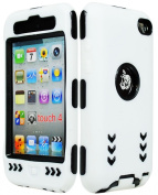 iPod Touch 4 Case, Bastex Hybrid Armour Shockproof Soft Outer White Silicone Cover with Hard Black Arrow Design Case for Apple iPod Touch 4
