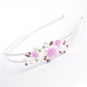 Girls Double Wire Silver Plated Crystal/ Diamante & Rose Design Headband/ Alice Band