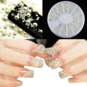 3 Sizes 3d Pearl Nail Art White Rhinestone Decoration Wheel Manicure Tool