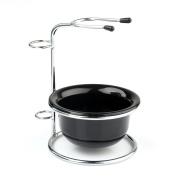 VERY100 Silver Stainless Steel Shaving Brush Razor Stand Holder & Acrylic Shaving Bowl Mug Set
