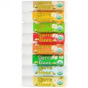 Organic Lip Balm - Variety 8 Pack by Sierra Bees - Cocoa Butter, Honey, Mint Burst, Pomegranate, Shea Butter & Argan Oil, Tamanu & Tea Tree, Unflavoured and Vanilla