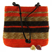 Women New Casual Straw Weave Striped Square-Shaped Shoulder Shopper Bags