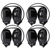4 Pack of Two Channel Folding Universal Rear Entertainment System Infrared Headphones Wireless IR DVD Player Head Phones Headsets for in Car TV Video Audio Listening