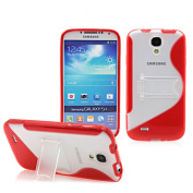 ProBagz Premium TPU Silicone Bumper Case with Stand Function for Samsung Galaxy S4 I9500 I9505 Red
