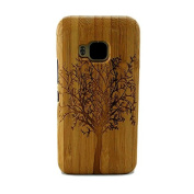 Genuine Natural Grove Wooden Wood Bamboo Timber Protective Hard PC Snap One Back Case Cover for HTC One M9 with Screen Protector Tree