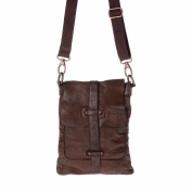 Man shoulder bag washed leather garment-dyed with strap DUDU Cocoa Brown