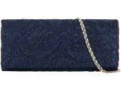 Haute For Diva's Womens Satin Lace Floral Hardcase Small Party Clutch Purse Hand Shoulder Bag