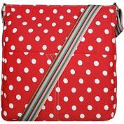 Red and White Polka Dot Canvas Shoulder Bag, Across body Bag, Cross Body Handbag