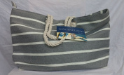 New this season - soft grey and cream striped fabric beach and day bag with zipped top!