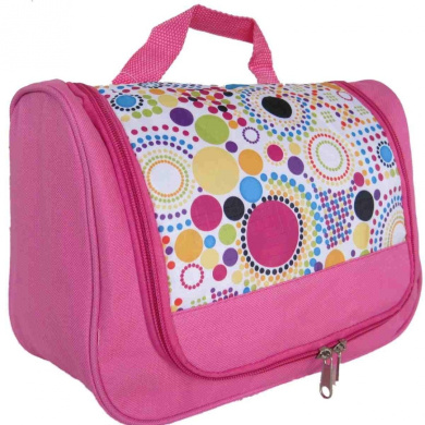 Toiletry Bag (Pink & Muticolour Dots)