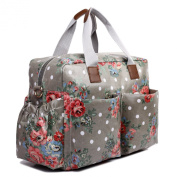 Miss Lulu 4 Piece Flower Dot Baby Nappy Changing Bag Set Grey L1501F GY
