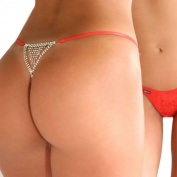 Women Red Sexy Rhinestone G string Thongs Panties Underwear Knickers With Front Lace Lingerie