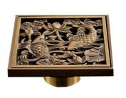 Archaistic Brass Square Shower Floor Drain Art Carved Kitchen Sink Drainer Fish