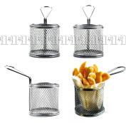 4pcs Mini Restaurant Chips Basket Chrome Chip Fryer Basket Kitchen Serving Dish