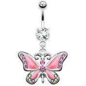 Beautiful Large Butterfly Pink Crystal Dangle Belly Navel Bar Lots of other Colours Available in our Pegasus Body Jewellery Amazon Shop