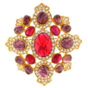 Kenneth Jay Lane Large Ruby and Amethyst Crystal Shield Brooch Pendant