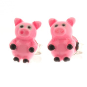 Sterling Silver and Resin Pink Pig Design Stud Earrings