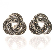 Sterling Silver Celtic Knot Design Stud Earrings with Marcasite