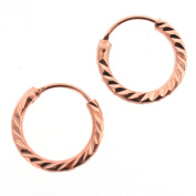 Diamond Cut 14mm Sterling Silver Hoop Earrings with Rose Gold Plate