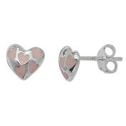 Sterling Silver 925 Pink Enamel Heart Girls Stud Earrings