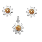 Sterling Silver 925 Daisy Gold Plated Pendant and Stud Earrings Set with Chain 41 cm