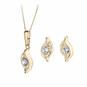 9ct Gold Double Swirl Crystal Earrings and Pendant Set
