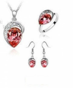 Austrian Crystal Necklace Earrings Ring Fashion Jewlery Set