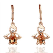 Scorpios Petite Yellow CZ Angle Drop Earrings Rose Gold Plated Lever Back Cocktail Earrings Best Gift