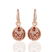 Scorpios Women Rose Gold Plated Hollow Out Ear Drop Intricate Design CZ Lattice Dangling Earrings