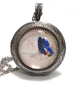 Large Antique Silver Glass Butterfly Cameo Locket Pendant