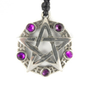 Mystical & Magical Pewter / Purple Pentagram Pentacle Pagan Wiccan Gothic Pendant
