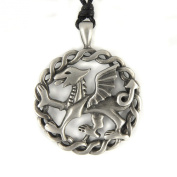 Mystical & Magical Pewter Pendant Welsh Dragon Celtic Weave Necklace