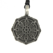 Mystical & Magical Pewter Pendant - Dharma Wheel - Chakra - Symbol of Buddhism Buddhist